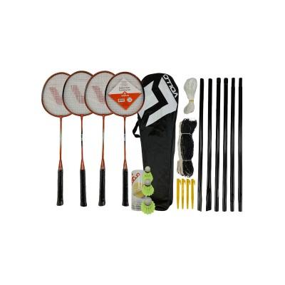 Kit Badminton Vollo 4 Raquetes 3 Petecas de Nylon Rede e Suporte